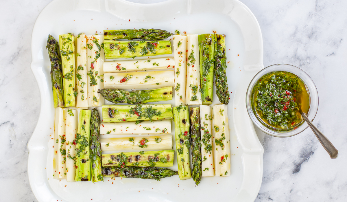 Grilled Asparagus & Hearts of Palm Salad with Chimichurri