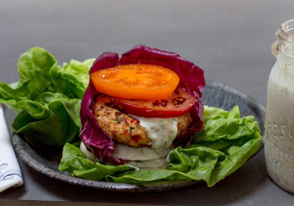 Lettuce Wrapped Chicken Burger with Zesty Ranch