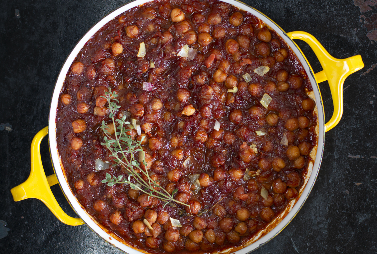 """Chickpea """"Baked Beans"""" out of the oven"""