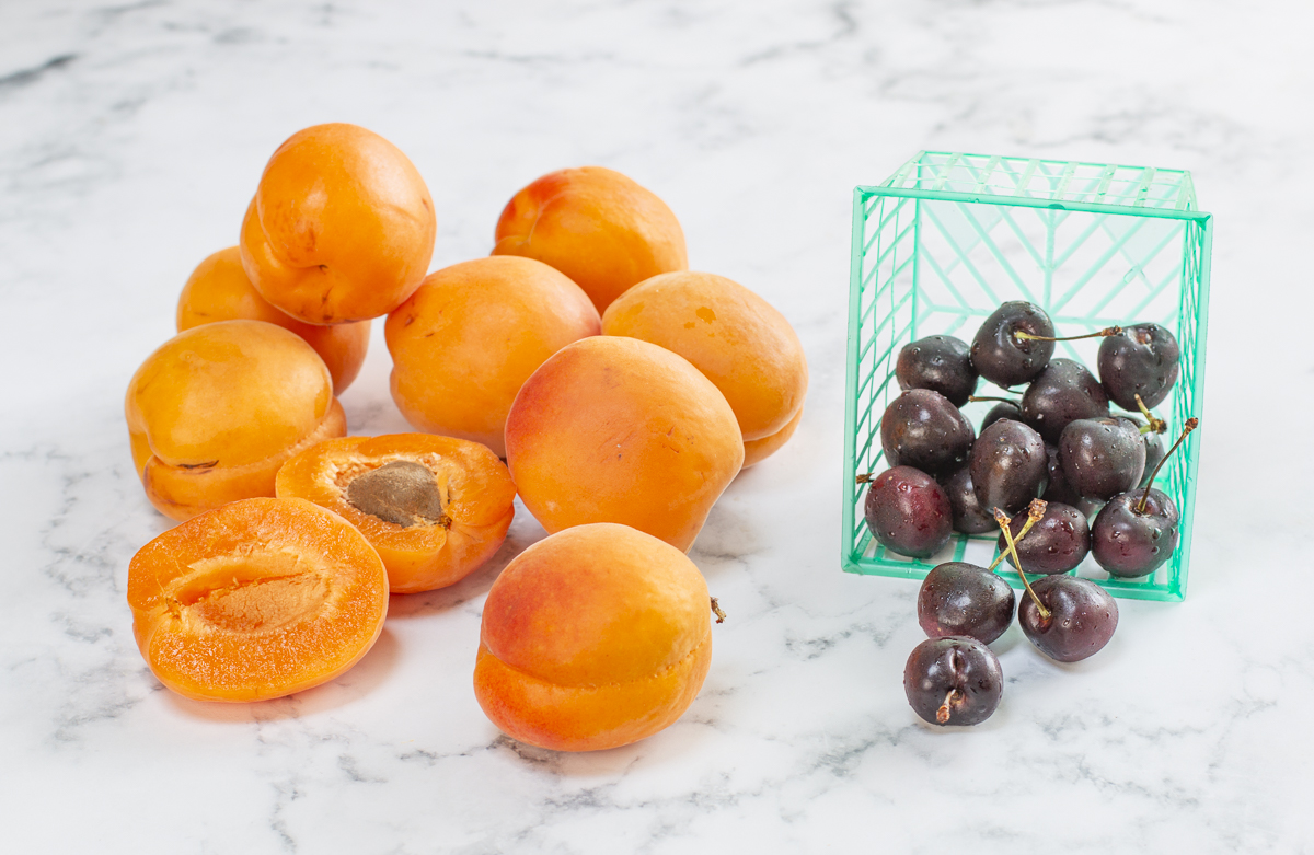 Fresh Apricots and Cherries