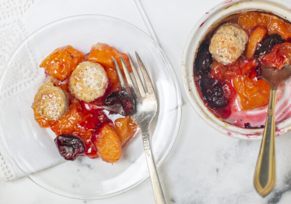 Apricot-Cherry Cobblers with Cinnamon Biscuits