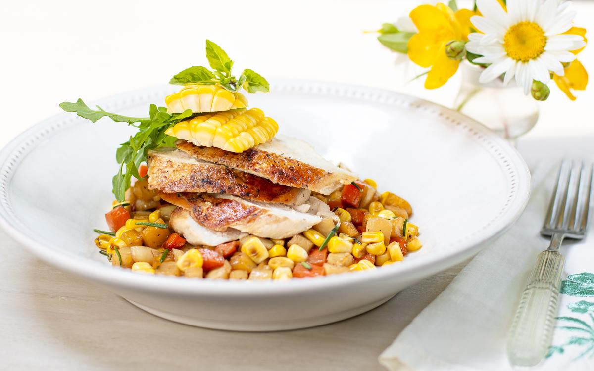 Chicken Breasts Under a Brick with a Vegetable Ragoût