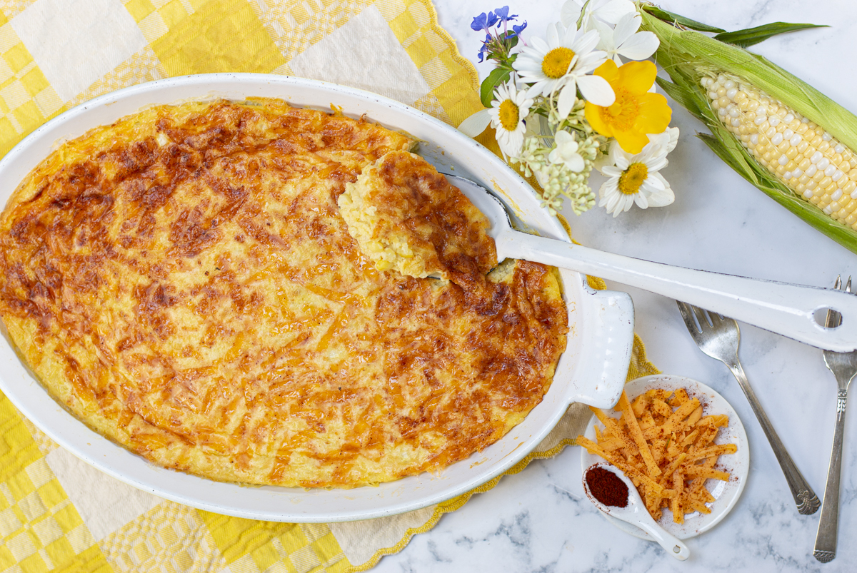 Corn Pudding with cheddar & chipotle crust in a vintage casserole
