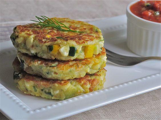 Corn and Zucchini Tortitas stacked