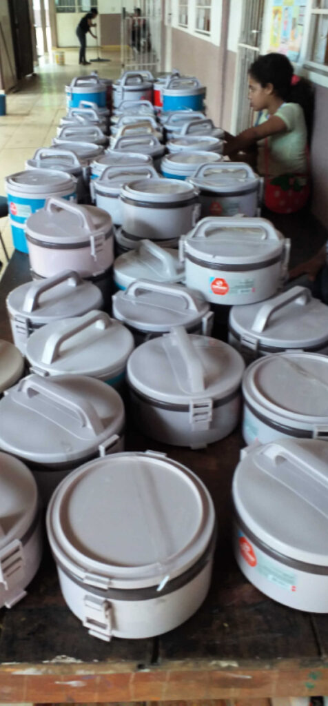 Lunchboxes provided by the organization to the beneficiaries.