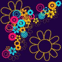 Flower Power Seamless Pattern Set