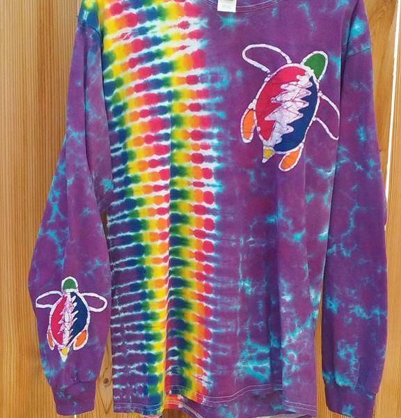 Large Grateful Turtle Batik Tie Dye Long Sleeve ⋆ Violablu's Tie Dyes