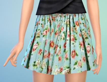Flower Pattern Pleated Skirt