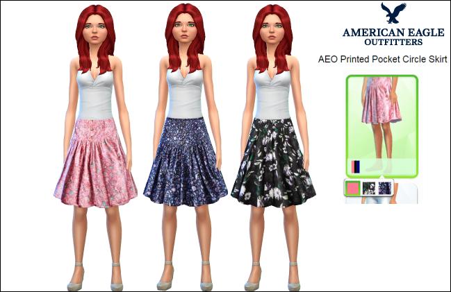 AEO Printed Pocket Circle Skirt – 3 textures