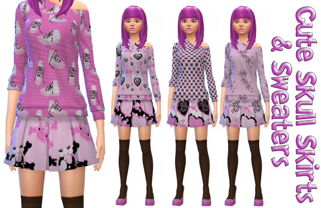 Cute Skull Skirts and matching Sweaters, 8 mix and match patterns