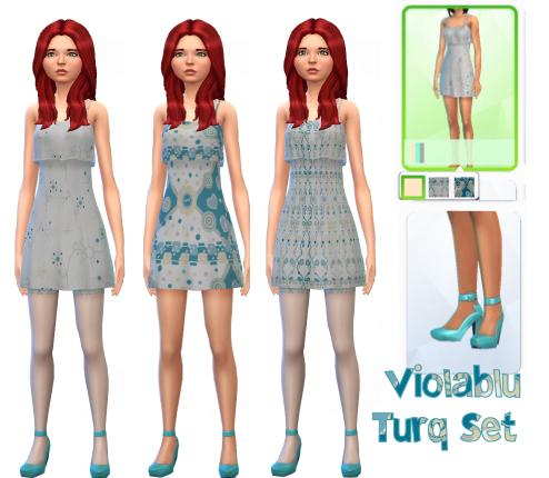 Turq Flutter Dress Set
