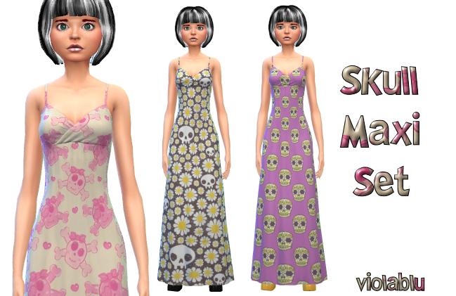 Skull Maxi Dress Set 3 Patterns
