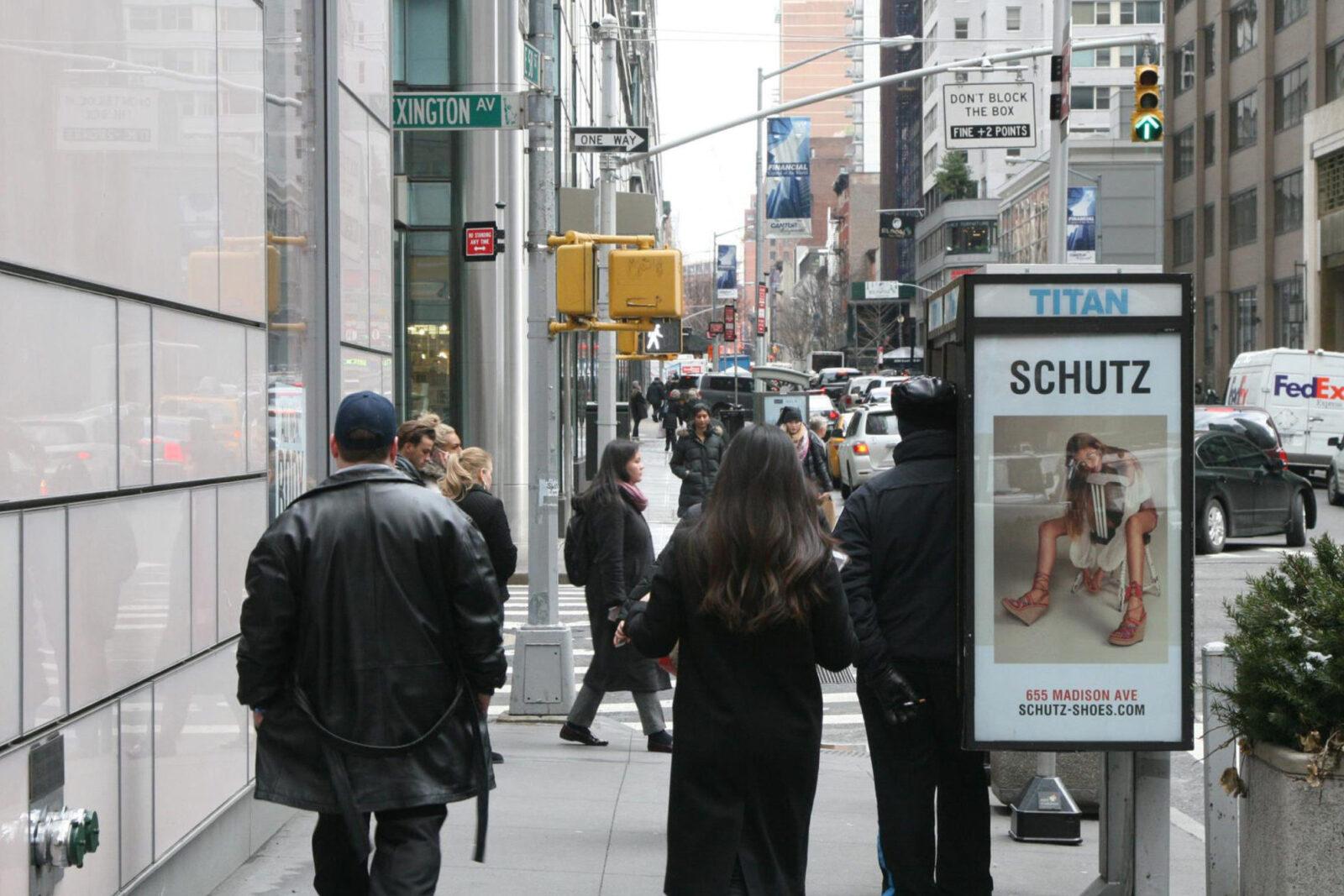 Schutz Shoes NYC Street Furniture Phone Kiosk Advertising
