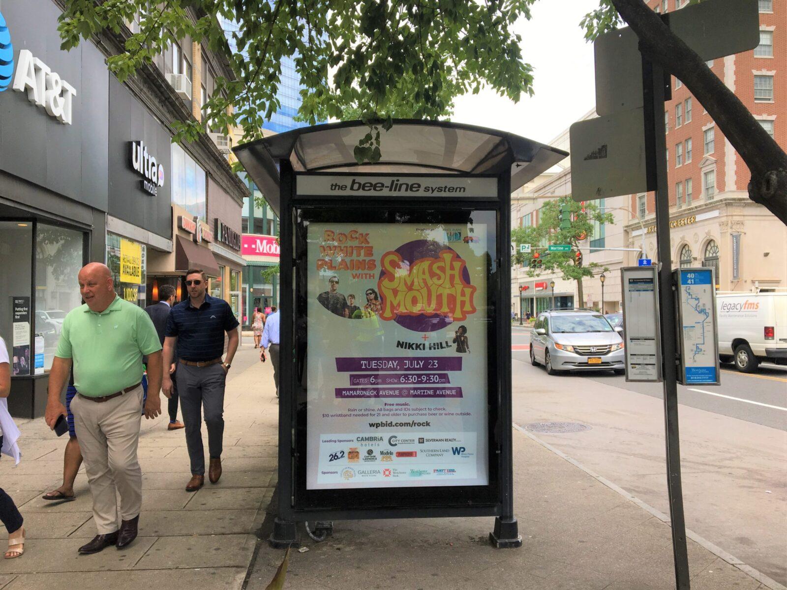 Rock White Plains Bus Shelter Advertising