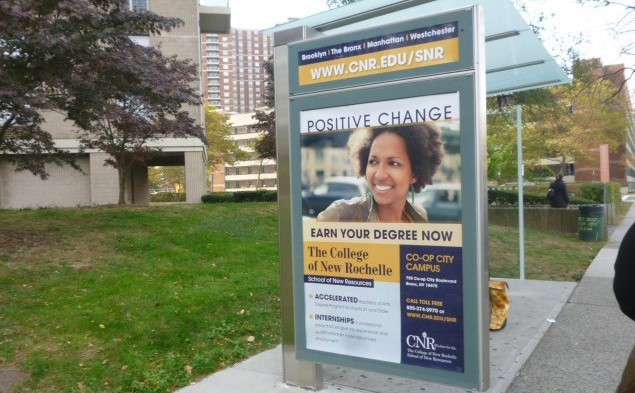College of New Rochelle Bus Shelter Advertising