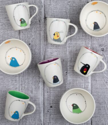 Ezme Designs Bird Bowls and Mugs Collage
