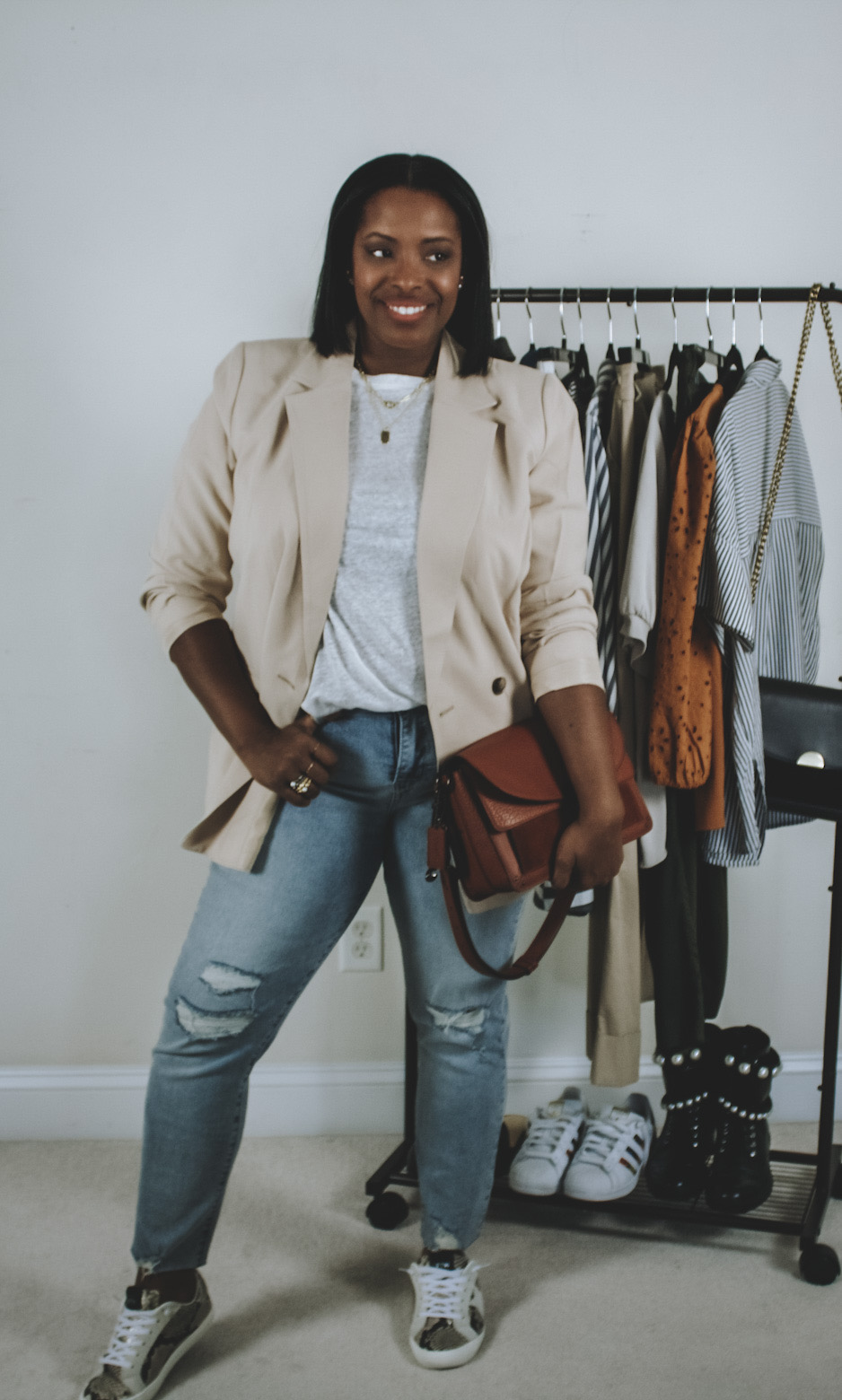 blazer look w/jeans rack shot