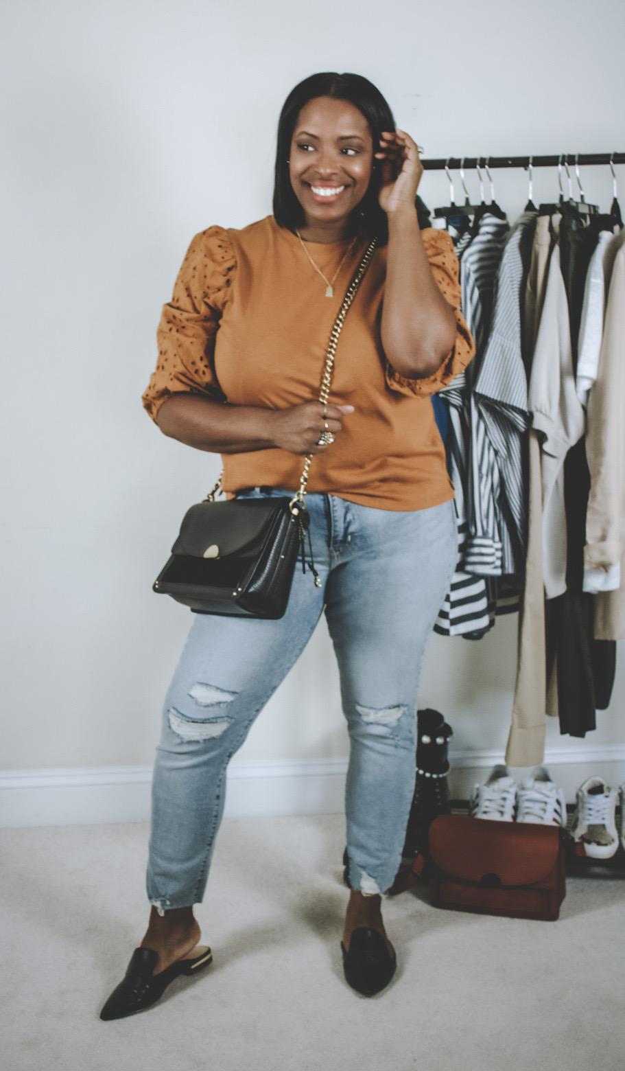 eyelet blouse w/ jeans look