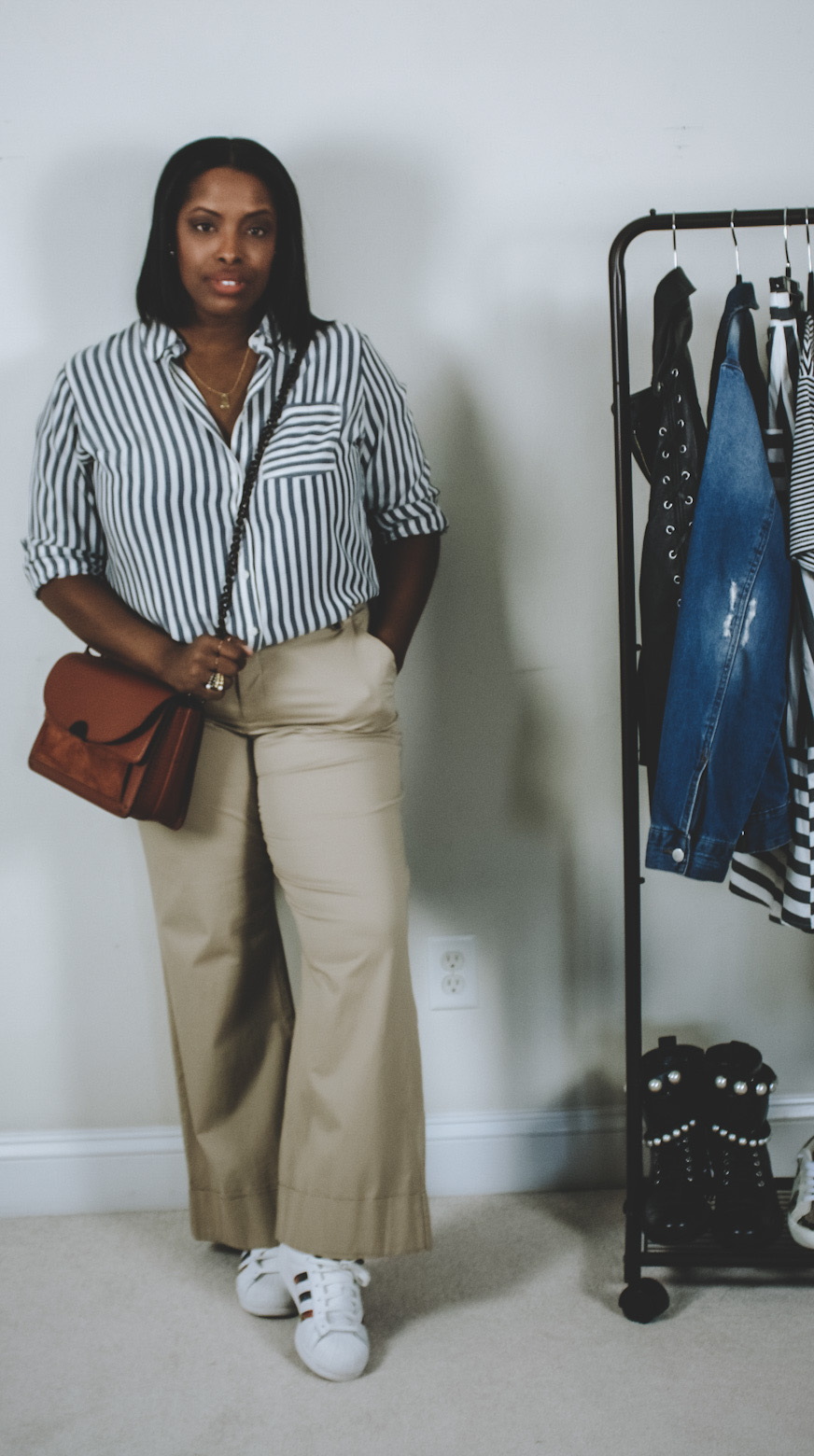 stripe button down w/ khakis and sneakers look