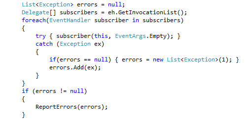 Use of invocation list to notify each event subscriber individually