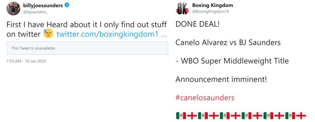 Unofficial Alvarez vs Saunders Announcement