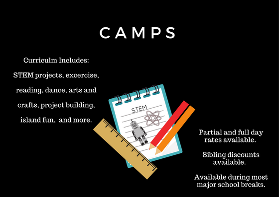 Camps at Makutus Island. Curriculum includes STEM projects, exercise, reading, dance, arts and crafts, project building, island fun, and more. Partial and full day rates available. Sibling discounts available. Available during most major school breaks.