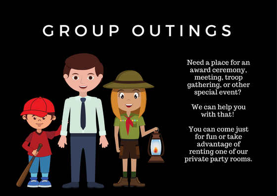 Group Outings at Makutus Island. Need a place for an award ceremony, meeting, troop, gathering, or other special event ? We can help you with that! You can come just for fun or take advantage of renting one of our private party rooms.