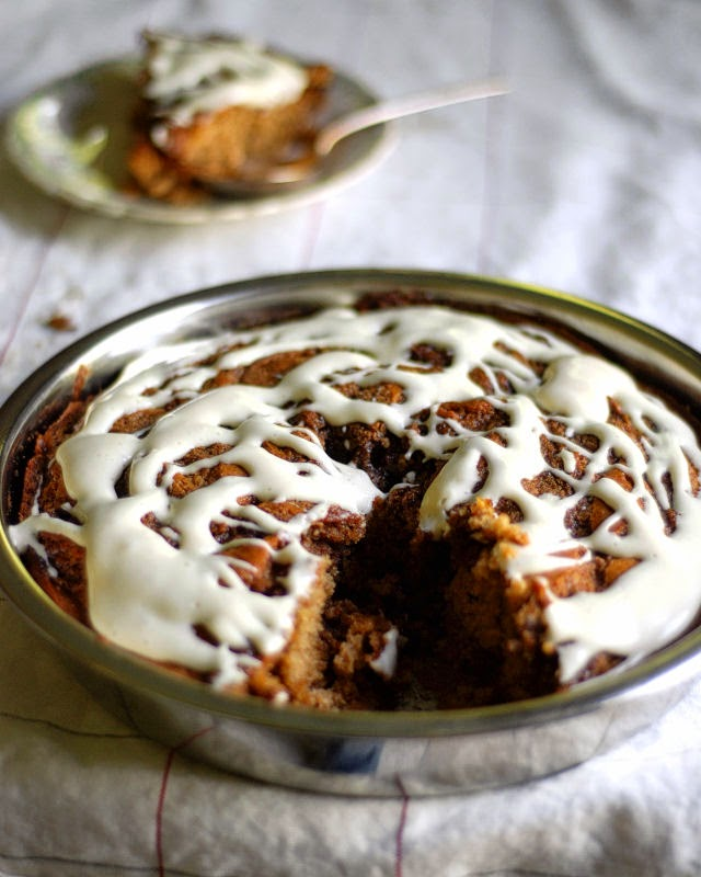 Cinnamon Roll Cake with Maple Cream Cheese Frosting