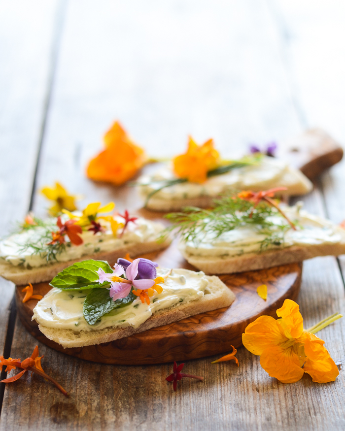 Chive and Cream Cheese Sandwiches with Edible Flowers | Buttered Side Up