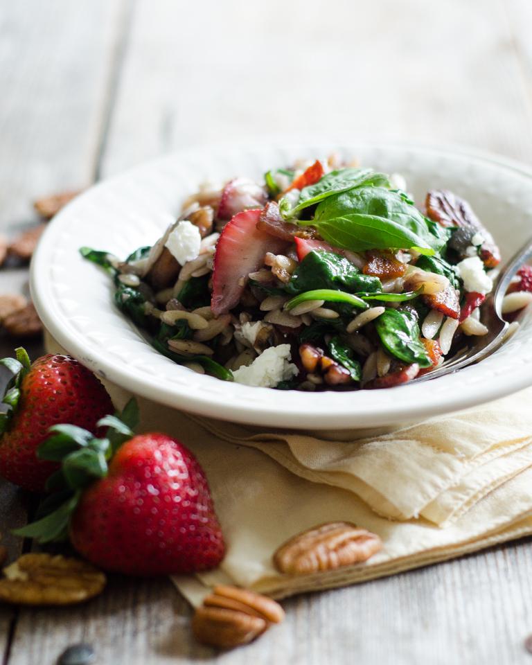 Warm Strawberry Bacon Orzo Salad