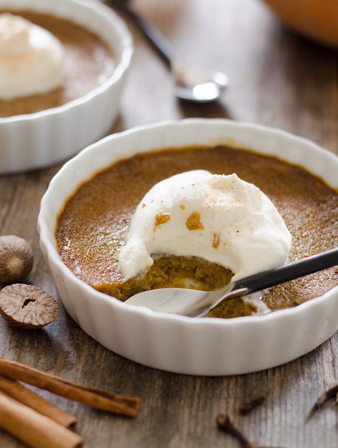 Easy Baked Pumpkin Custard with Nutmeg Whipped Cream