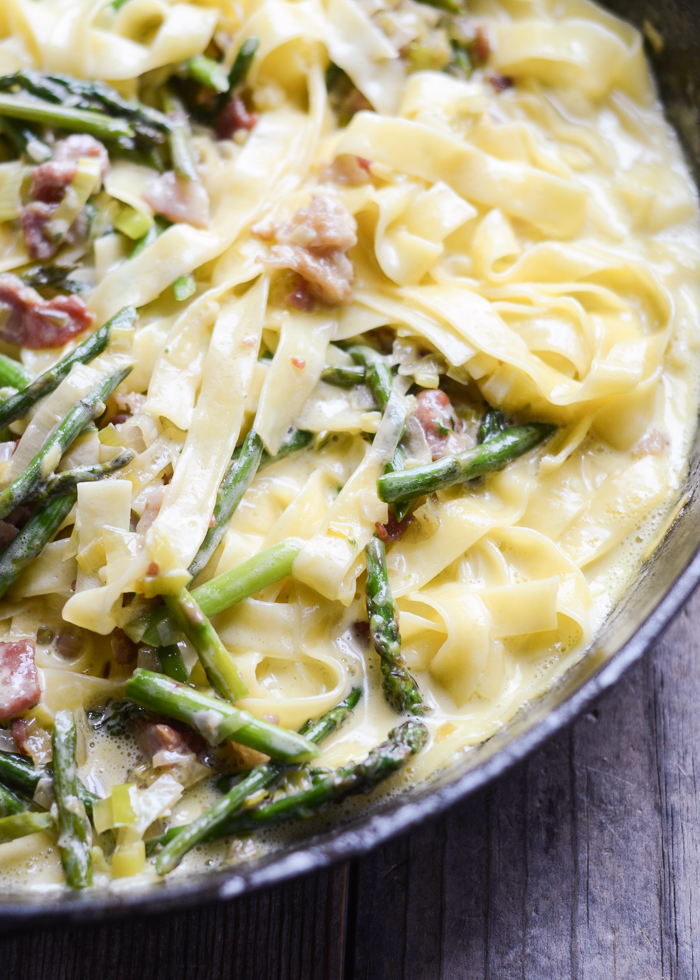 Cream Leek, Asparagus, and Bacon Pasta | Buttered Side Up