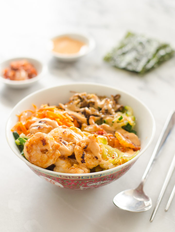 Korean Inspired Shrimp Rice Bowls