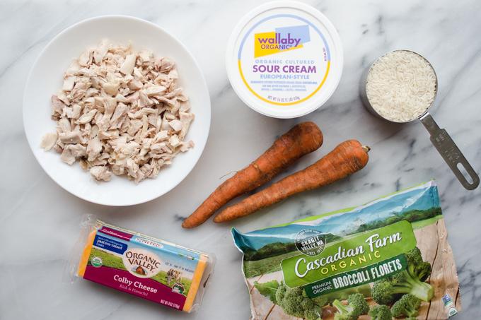 Healthier Cheesy Chicken and Broccoli Rice Casserole