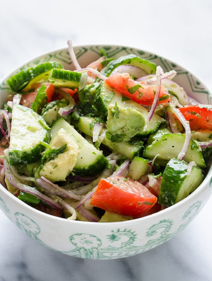 Healthy Avocado, Cucumber, and Tomato Salad