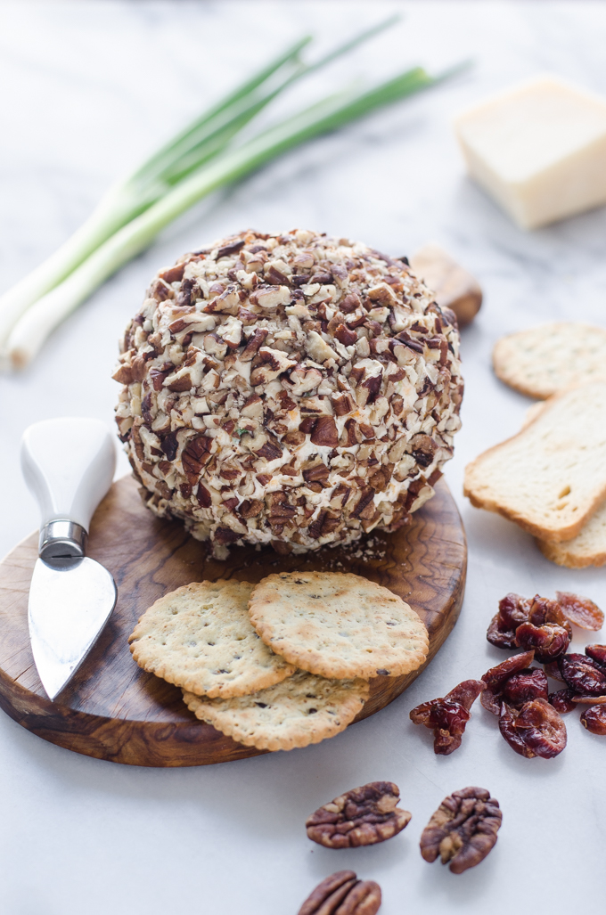 Healthy Cranberry Pecan Cheeseball Recipe - Gluten Free and all-natural!
