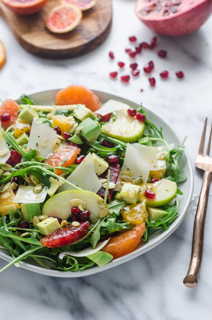 Winter Salad with Arugula, Avocado, Pomegranate, Blood Orange, and Apple