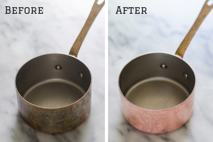 Before and After of copper polish.