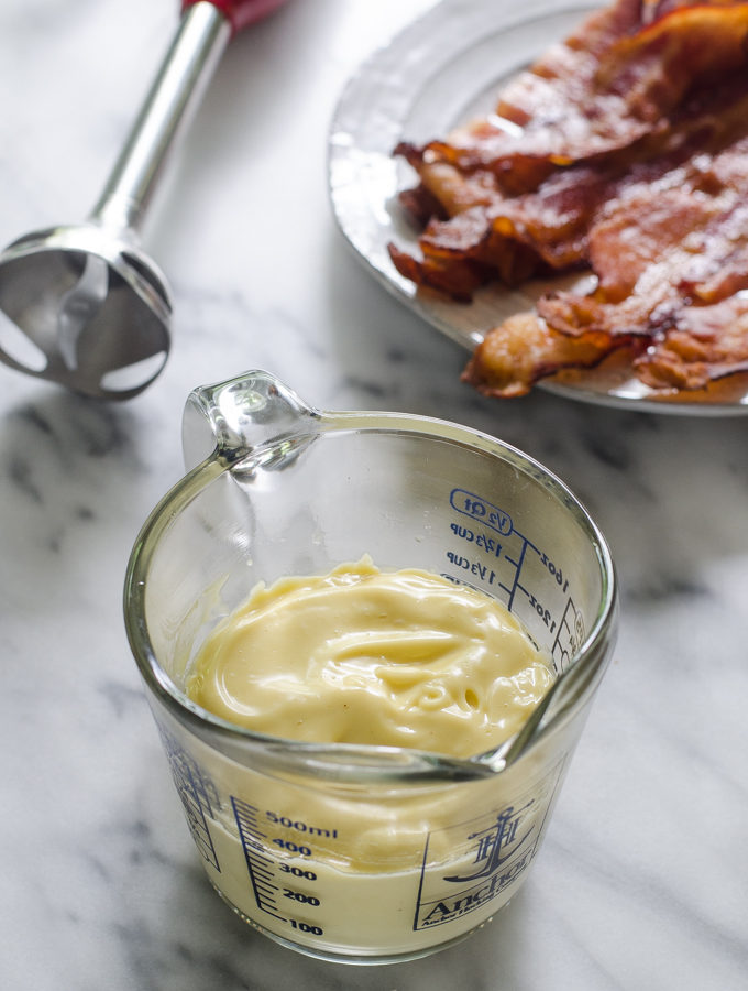 This mayonnaise recipe uses bacon grease and it's so full of flavor!