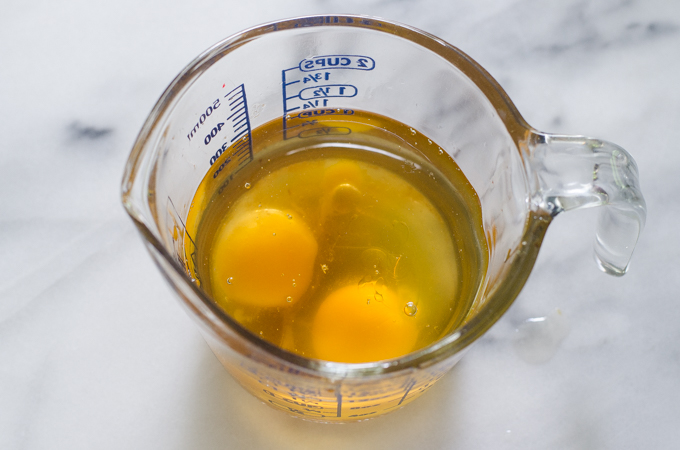 Mayonnaise ingredients in a measuring cup.