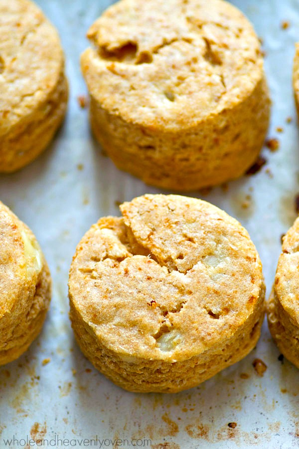 Close up shot of baked biscuits.