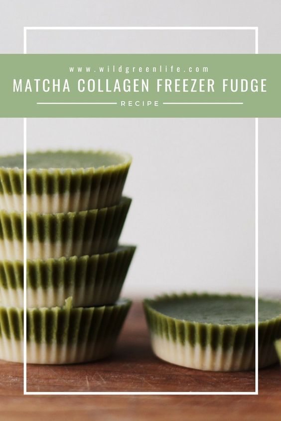Side view of a stack of matcha collagen cups with words.