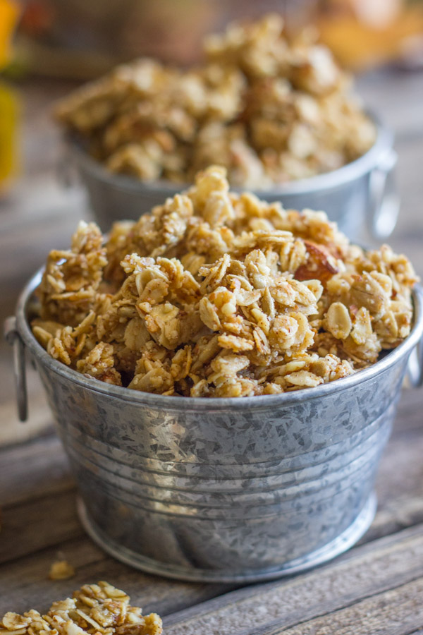 Pumpkin granola in mini galvanized buckets.