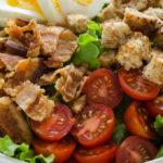 Close up shot of BLT salad.