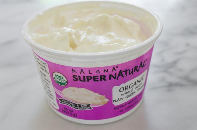 Kalona SuperNatural Greek yogurt in an open container.