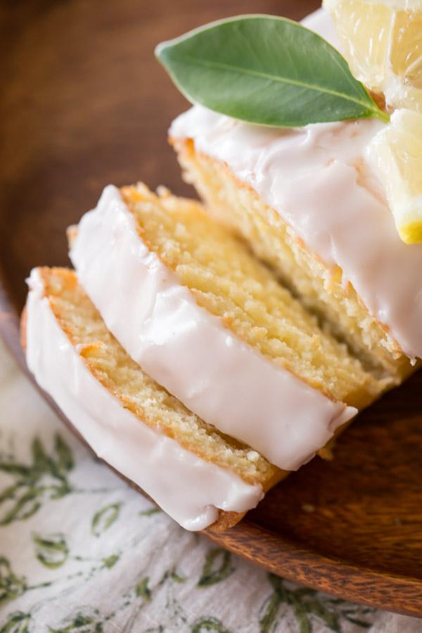 Slices of lemon pound cake.