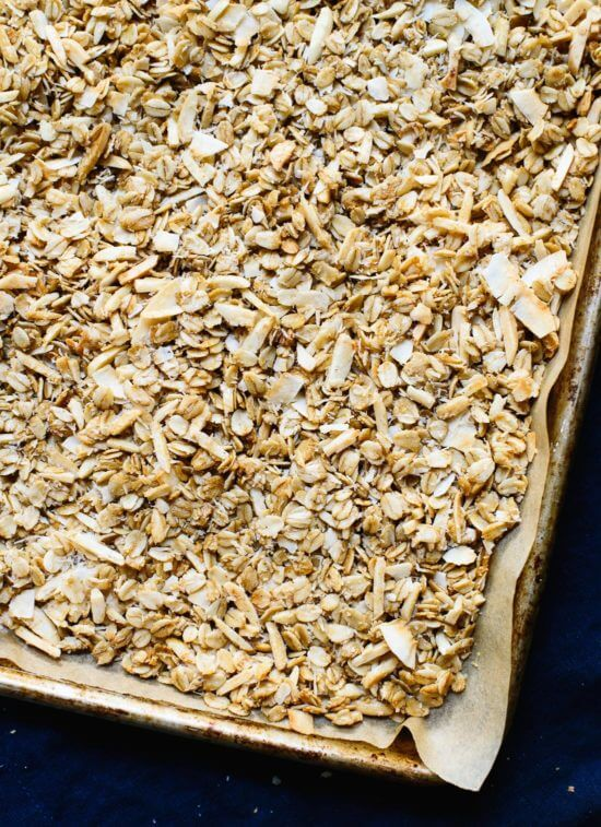 From above shot of triple coconut granola.