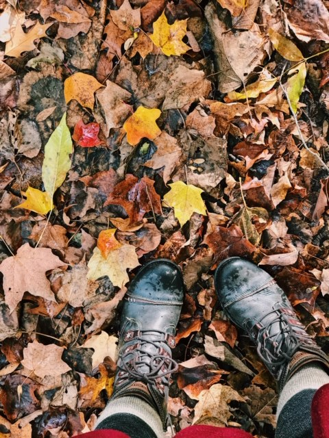 Shoes + fallen leaves