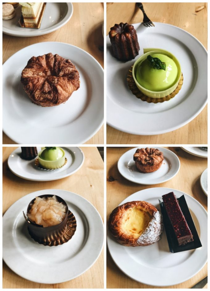 Patisserie 46 Minneapolis MN - Kougin Amann, Basil custard tart, flourless chocolate cake, flan puff pastry