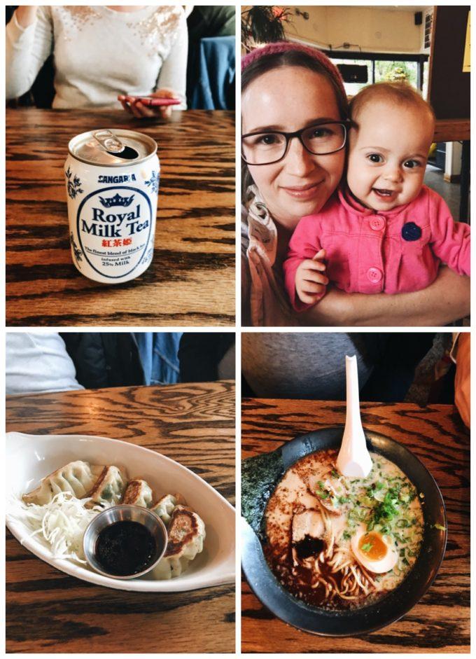 Fun restaurants in Minneapolis: Eating at Ramen Kazama - milk tea, gyoza, and tonkotsu ramen.